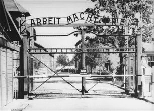 View of the entrance to the main camp of Auschwitz (Auschwitz 1)