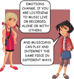 EMOTIONS CHANGE, IF YOU ARE LISTENING TO MUSIC LIVE OR RECORDED, ALONE OR WITH OTHERS AND MUSICIANS CAN PLAY AND INTERPRET THE SAME PIECE IN DIFFERENT WAYS