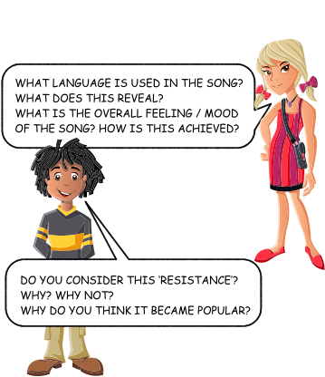 WHAT LANGUAGE IS USED IN THE SONG? WHAT DOES THIS REVEAL? WHAT IS THE OVERALL FEELING / MOOD OF THE SONG? HOW IS THIS ACHIEVED? Listen to… Zog nit keyn mol   DO YOU CONSIDER THIS 'RESISTANCE'? WHY? WHY NOT?WHY DO YOU THINK IT BECAME POPULAR?